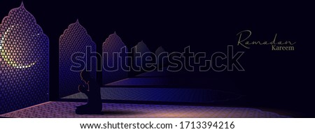 Ramadan and Eid Mubarak vector greeting background with a man praying front at Islamic windows for banner, Flyer, social media, print, poster, web.