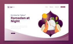 Ramadan at night activity, Call for wake up and Sahur or eating food early for ramadan illustration concept on landing page