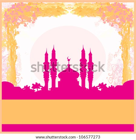 Ramadan background mosque silhouette vector card