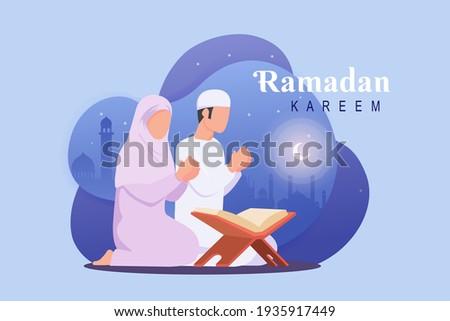 Ramadan background with couple moslem praying with mosque illustration.  Holly night ramadan scene
