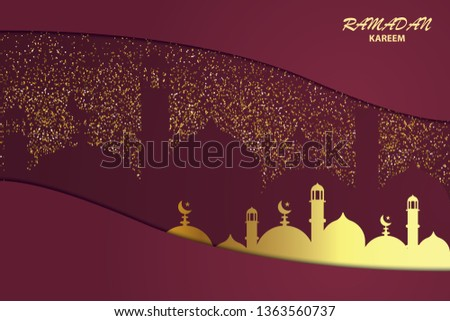 creative ramadan kareem festival greeting with glowing mosque