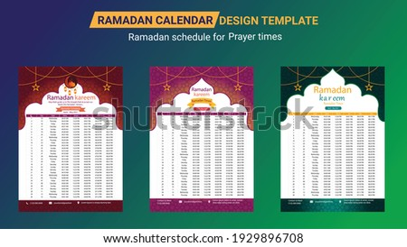 Ramadan Calendar Design Template. Islamic Calendar and Sehri Ifter time Schedule. Hijri islamic calendar 2021. Ramadan calendar, Ramadan schedule for Prayer times in Ramadan