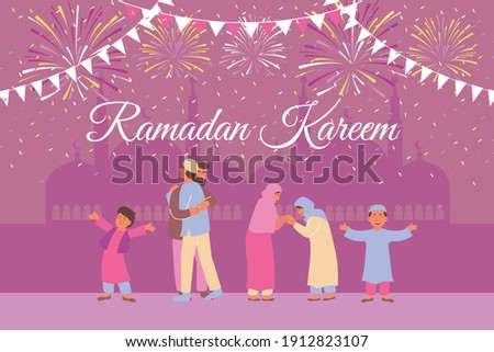 Ramadan card with temple silhouettes background ornate text and cheerful human characters of muslim family members vector illustration