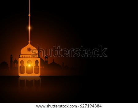 Ramadan Fanous Lantern with Orange Glowing Lights in the Dark for Ramadan Background. Vector Illustration eps.10 #627194384