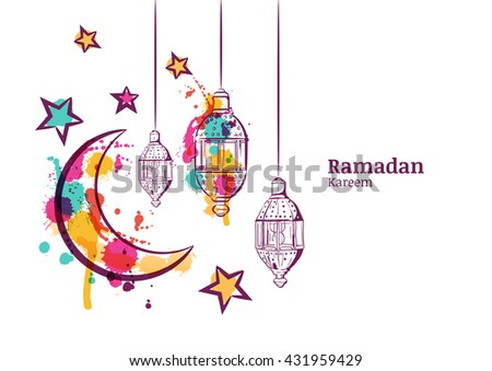 Ramadan Greeting Card Or Banner Background Traditional Watercolor Lanterns Moon And Stars