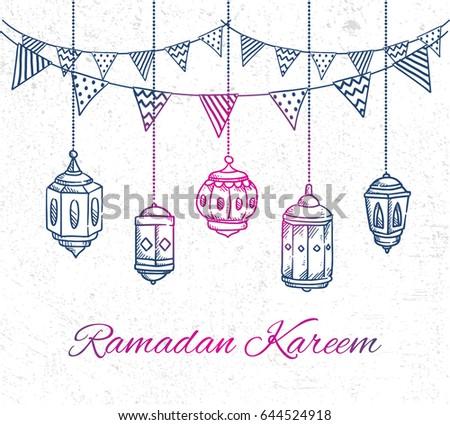 Ramadan greeting card with hand drawn lantern and bunting flag on grunge background #644524918