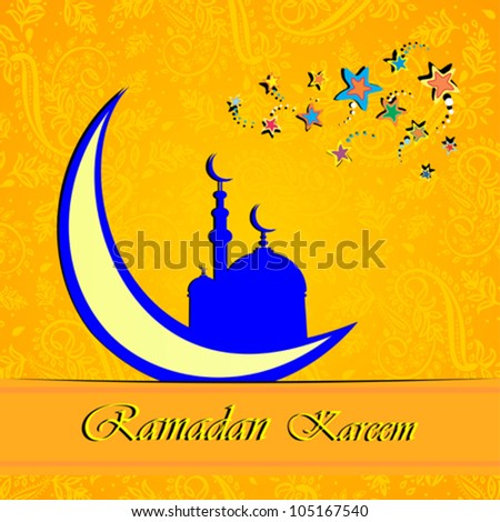 Ramadan greetings in Arabic script. An Islamic greeting card for holy month of Ramadan Kareem. Vector Illustration - Shutterstock ID 105167540