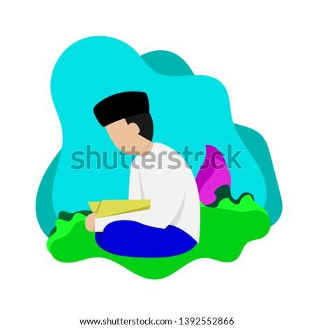 Ramadan illustration, flat illustration, religion illustration.