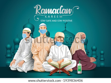 ramadan kareem and eid mubarak greetings. Islamic people reading Quran vector illustration design. covid-19, corona virus concept