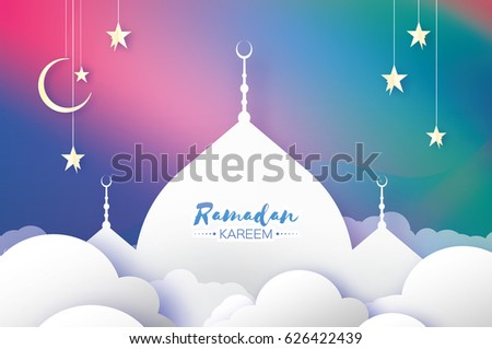 Ramadan Kareem. Arabic Mosque, clouds, white stars in paper cut style. Arabesque pattern. Crescent Moon. Holy month of muslim. Symbol of Islam. Origami Greeting card. Purple background. Vector