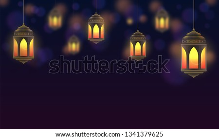 Ramadan Kareem background. Hanging lanterns and glowing lamps. Muslim feast of the holy month. Beautiful golden lanterns on dark blue background. Greeting card template for Ramadan and Muslim Holidays #1341379625