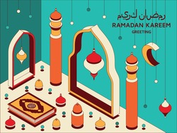 Ramadan Kareem background isometric. Islamic Arabic mosque, lanterns, and Koran. Greeting card. Translation Ramadan Kareem, Koran. Greeting card