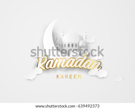 Ramadan kareem background. Paper cut vector illustration with mosque and moon, place for text greeting card and banner for Ramadan kareem