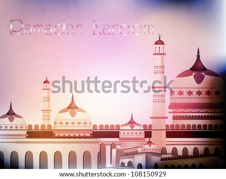 Ramadan Kareem background with Mosque or Masjid. EPS 10. - stock vector