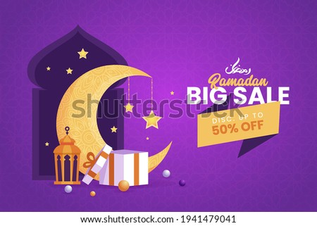 Ramadan Kareem Big Sale Banner background islamic symbol with gift box, crescent moon and lantern. Discount up to. Suitable for invitation outdoor banner, poster and marketing.