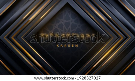 Ramadan Kareem. Black paper sign with golden glitters on luxury geometric background with girih pattern. Vector 3d illustration. Islamic holiday banner. Religious event