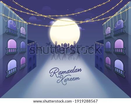 Ramadan Kareem Celebration Background With Full Moon, Buildings, Mosque And Muslim People Playing Drum In Suhoor Time.