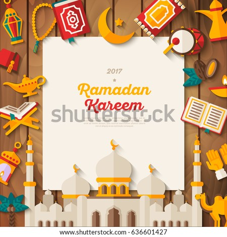 Ramadan Kareem concept banner with flat sticker icons and white square frame. Vector illustration. Eid Mubarak. Quran, Traditional Lanterns, Dates, Iftar food, Muslim mosque