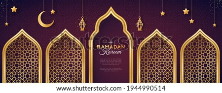 Ramadan Kareem concept banner with gold 3d frame, arab window on dark background with beautiful arabesque pattern. Vector illustration. Hanging golden arabian traditional lanterns, crescent and stars