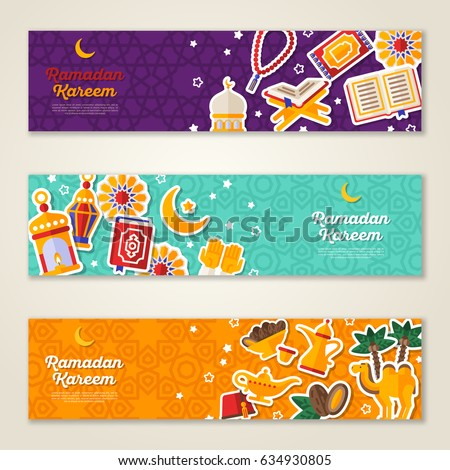 Ramadan Kareem concept horizontal banners with flat sticker icons. Vector illustration. Eid Mubarak. Quran, Traditional Lanterns, Dates