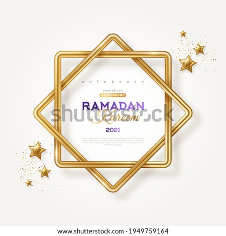 Ramadan Kareem concept poster, typography template. Eight point star shape frame, 3d gold stars and confetti on light background. Vector illustration. Eight-pointed Rub el hizb islamic symbol