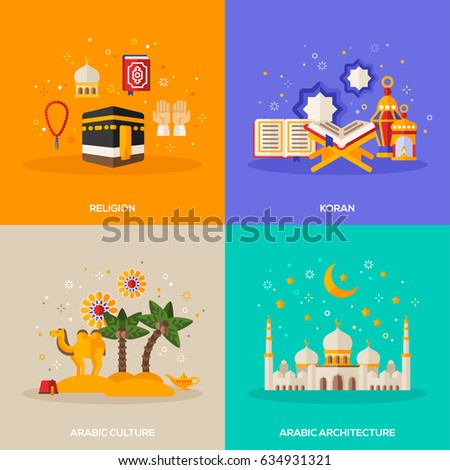 Ramadan Kareem concepts set with flat icons. Vector illustration. Eid Mubarak. Architecture, arabic culture, religion, Quran.