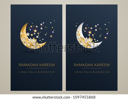 Ramadan Kareem dark blue & gold greeting card vector design - islamic art illustration with moon and golden text 'Ramadan Kareem'. Islamic vertical background with islamic illustration