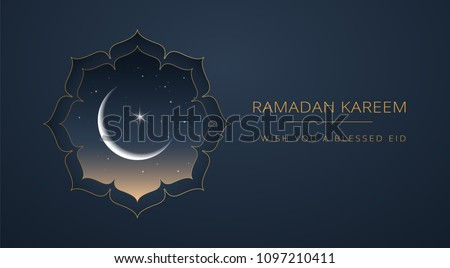 Ramadan Kareem dark blue & gold greeting card vector design - islamic line art illustration with moon and golden text 'Ramadan Kareem'. Islamic background with islamic illustration