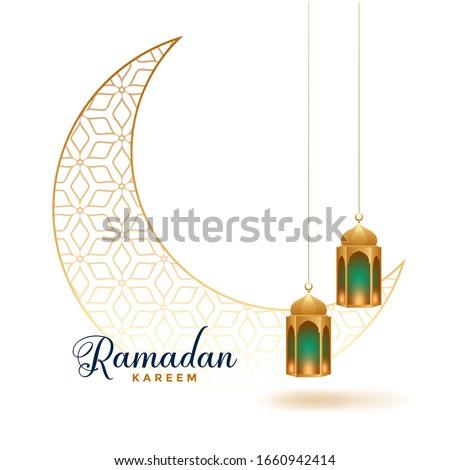 ramadan kareem decorative moon with hanging lamps design