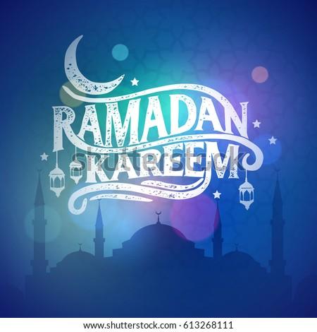 Ramadan Kareem greeting beautiful lettering for banner islamic background