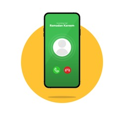 Ramadan Kareem greeting call user interface in cellphone. Islamic greeting vector concept.