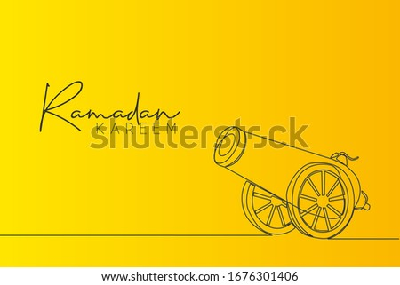 Ramadan Kareem greeting card, banner and poster design. One continuous line drawing of metal cannon ball aimed to the sky ready to shot with white background. Single line draw vector illustration Сток-фото ©