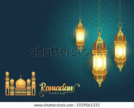 Ramadan Kareem greeting card design with half moon and mosque on green background. Hanging Lamps. vector illustration design Photo stock ©