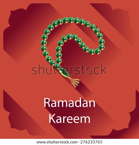 Ramadan Kareem greeting card Islamic design element.Rosary vector illustration Prayer beads