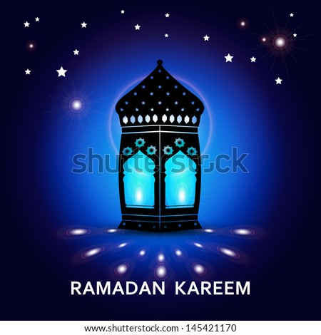 Ramadan Kareem greeting card / Vector template greeting card with intricate arabic lamp on creative blue background  #145421170