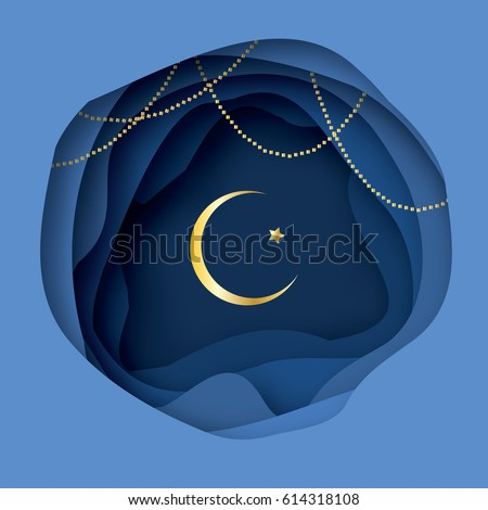 Ramadan Kareem Greeting card with arabic Gold Symbol of Islam - Crescent Moon. Paper cut Desert Cave Landscape. Garland. Holy month of muslim. Islamic festival celebration vector background.