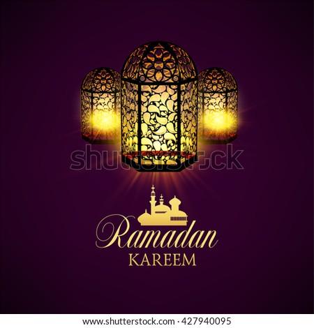 Ramadan Kareem greeting ornate background. Vector Illustration. Eid mubarak. Islamic art design template. - Shutterstock ID 427940095