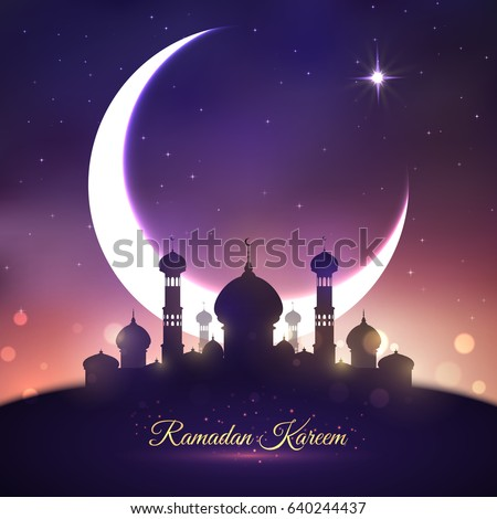 Ramadan Kareem greetings with mosque and moon. Muslim religion holy month Ramadan celebration greeting card with mosque under blue night sky, crescent moon and stars. Eid Mubarak festive poster design
