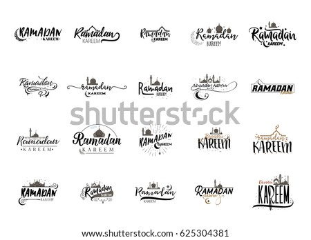 Ramadan Kareem - Handmade template. Isolated vector object logo is a badge for your design