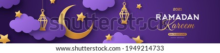 Ramadan Kareem Horizontal Sale Header or Voucher Template with Gold Moon, 3d Paper cut Clouds and Stars on Night Sky Violet Background. Vector illustration. Traditional Lanterns and Place for Text.