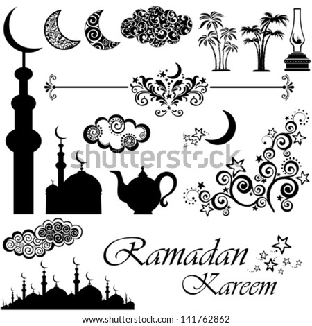 Ramadan Kareem. Icons set Ramadan isolated on White background. Vector illustration
