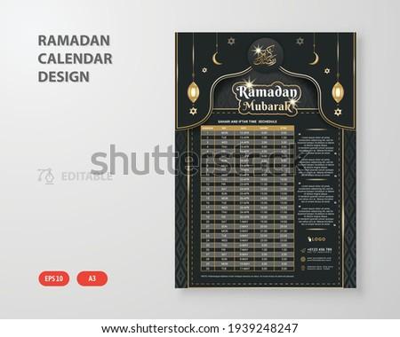 Ramadan Kareem Iftar and Sehri Calendar design Template. Islamic Calendar and Sehri Iftar time Schedule.