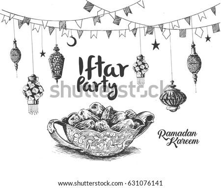 Ramadan Kareem Iftar party celebration, Hand Drawn Sketch Vector illustration. #631076141