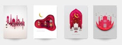 Ramadan kareem islamic beautiful design template. Minimal composition in paper cut style. Set holiday background for branding greeting card, banner, cover, flyer or poster. Vector illustration.