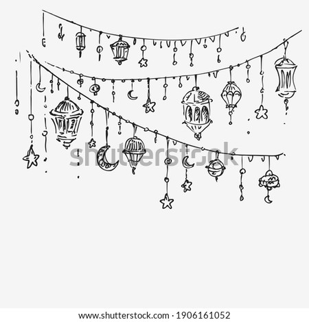Ramadan Kareem (islamic blessed month) vector background. Islamic holiday garland, bunting with arabic lamps. Hand drawn sketch.