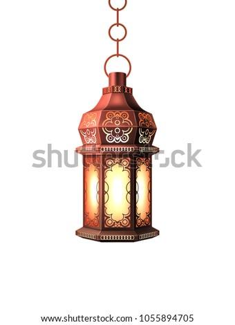 Ramadan kareem lantern celebration lamp realistic 3d illustration. Vector arab islam culture festival decoration religious fanoos glowing symbol white background Traditional muslim poster card design