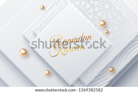 Ramadan Kareem. Modern cover design. Vector illustration. Islamic holiday. Muslim month Ramadan poster template. White banner with geometric square shapes, golden beads and traditional girih pattern