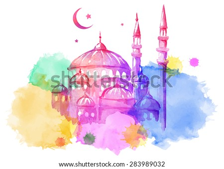 Ramadan Kareem. Mosque night. Bright watercolor stains background. Vector illustration. - stock vector