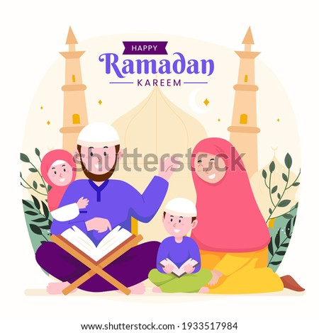 Ramadan kareem mubarak happy moslem family together reading quran during fasting with kids, children and parents, suitable for Greeting card, invitation and banner. flat vector illustration.