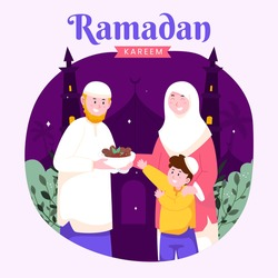 Ramadan kareem mubarak happy moslem family together teaching son for giving food or gift to poor people, suitable for Greeting card, invitation and banner. flat vector illustration.